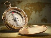 Compasso no fundo do mapa do mundo nearsighted fotos de stock royalty free
