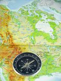 Compasso no mapa Foto de Stock