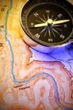 Compasso no mapa Imagem de Stock Royalty Free