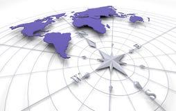 Compasso no mapa Foto de Stock Royalty Free