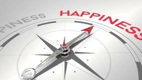 Compasso que aponta à felicidade ilustração stock