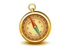 Compasso realístico dourado Imagens de Stock