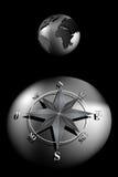 Compasso Rosa e globo do mundo ilustração do vetor