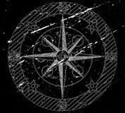 Compasso velho no preto. ilustração stock