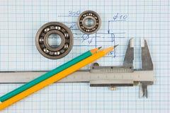Compassos de calibre, rolamento e quadrado Foto de Stock Royalty Free