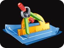 Compassos, régua e papel. Imagem de Stock Royalty Free