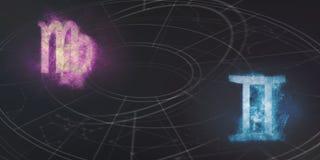 Compatibilidade dos sinais do horóscopo da Virgem e dos Gêmeos Céu noturno Abstra ilustração royalty free