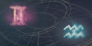 Compatibilidade dos sinais do horóscopo dos Gêmeos e do Aquário Abs do céu noturno ilustração stock