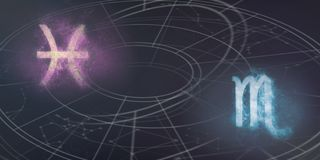Compatibilidade dos sinais do horóscopo dos Peixes e da Escorpião Céu noturno Abst ilustração stock