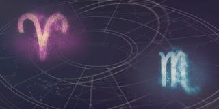 Compatibilité de signes d'horoscope de Bélier et de Scorpion Résumé de ciel nocturne photos stock