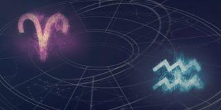 Compatibilité de signes d'horoscope de Bélier et de Verseau Ciel nocturne Abst photographie stock