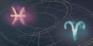 Compatibilité de signes d'horoscope de Poissons et de Bélier Ciel nocturne Abstra image stock