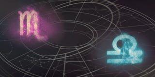 Compatibilité de signes d'horoscope de Scorpion et de Balance Résumé de ciel nocturne photos stock