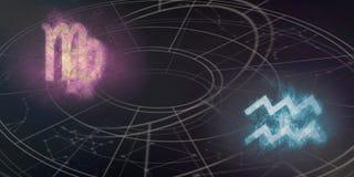 Compatibilité de signes d'horoscope de Vierge et de Verseau Ciel nocturne Abst image libre de droits