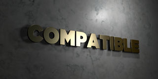 Compatible - Gold text on black background - 3D rendered royalty free stock picture Stock Image