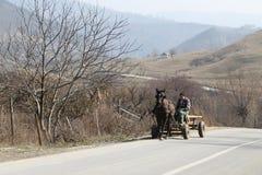 Compatriota que conduz o carro de madeira imagem de stock royalty free