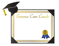 Compendio el diploma de la universidad de Laude con el casquillo y el tasse Imagen de archivo