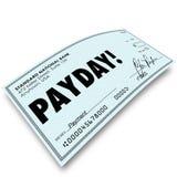 Compensação do trabalho do salário do pagamento de dinheiro da verificação do dia de pagamento Imagens de Stock