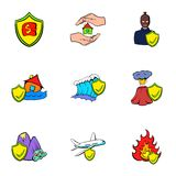 Compensation icons set, cartoon style. Compensation icons set. Cartoon illustration of 9 compensation vector icons for web Royalty Free Stock Images