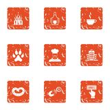 Compensation icons set, grunge style. Compensation icons set. Grunge set of 9 compensation vector icons for web isolated on white background Royalty Free Stock Image