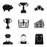Compensation icons set, simple style Royalty Free Stock Images