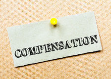 Compensation Message. Concept Image Stock Photos