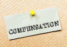 Compensation Message. Concept Image Stock Photos