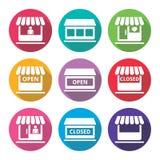 Compera o il deposito, icone piane di progettazione del supermercato messe Immagini Stock