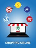 Compera online dallo smartphone o computer e l'altro fondo Immagine Stock Libera da Diritti