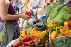 Comperando al mercato degli agricoltori Fotografia Stock