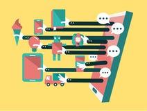 Comperando deposito online e online sullo Smart Phone Affare e concetto digitale di vendita Fotografia Stock Libera da Diritti