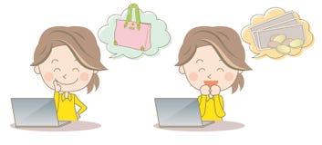Comperando ed affare laterale su Internet - giovane donna illustrazione vettoriale