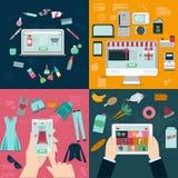 Comperando nel deposito online royalty illustrazione gratis