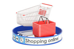 Comperando online, concetto di e-shopping, rappresentazione 3D Fotografia Stock Libera da Diritti