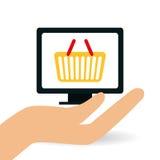 Comperando online e progettazione del computer, illustrazione di vettore Fotografia Stock