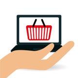 Comperando online e progettazione del computer portatile, illustrazione di vettore Fotografia Stock Libera da Diritti