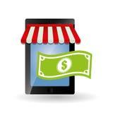 Comperando online e progettazione dello smartphone, illustrazione di vettore Immagini Stock Libere da Diritti