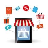 Comperando online e progettazione dello smartphone, illustrazione di vettore Immagine Stock Libera da Diritti