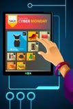 Comperando online per la vendita cyber di lunedì Fotografia Stock Libera da Diritti
