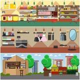 Comperando in un deposito e nelle insegne di vettore di concetto del mercato del locale Negozio di alimentari, boutique di modo,  illustrazione di stock