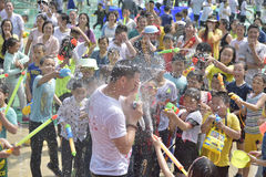 The compere be attacked with water gun Royalty Free Stock Photo