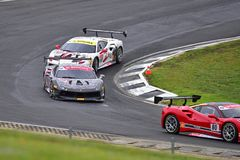 A competência de carros do desafio de Ferrari 488 em Ferrari desafia a série de Asia Pacific compete Fotografia de Stock