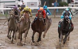 Competência em uma trilha enlameada Fotografia de Stock Royalty Free