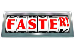 Competência rápida rápida da velocidade mais rápida do odômetro da palavra Imagens de Stock Royalty Free