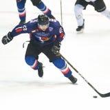 Compet de los jugadores de hockey Imágenes de archivo libres de regalías