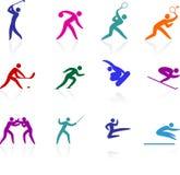 Competative και ολυμπιακή συλλογή αθλητικών εικονιδίων απεικόνιση αποθεμάτων