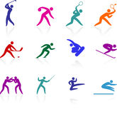 Competative and olympic sports icon collection Stock Images