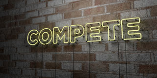 COMPETE - Glowing Neon Sign on stonework wall - 3D rendered royalty free stock illustration Stock Images