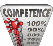 Competence Capability Reliable Performance Theremometer Measurem. Competence word on a thermometer or gauge to illustrate being able or having capability or Stock Photo
