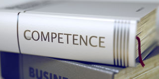 Competence Concept. Book Title. 3D Illustration. Royalty Free Stock Photos